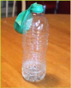 water bottle with balloon opening fitting snug onto the bottle opening